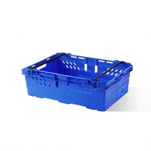 Supermarket plastic crate in blue with handles