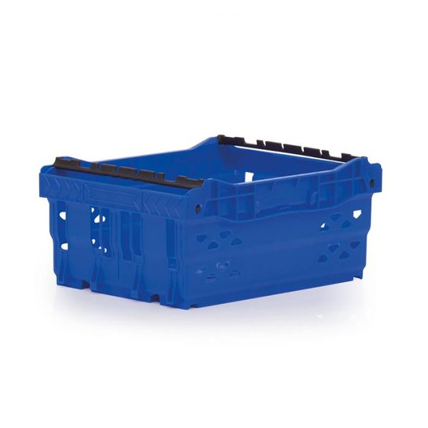 Supermarket plastic crate in blue