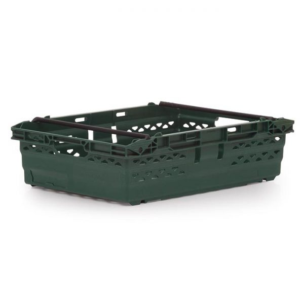 Supermarket plastic crate in dark green