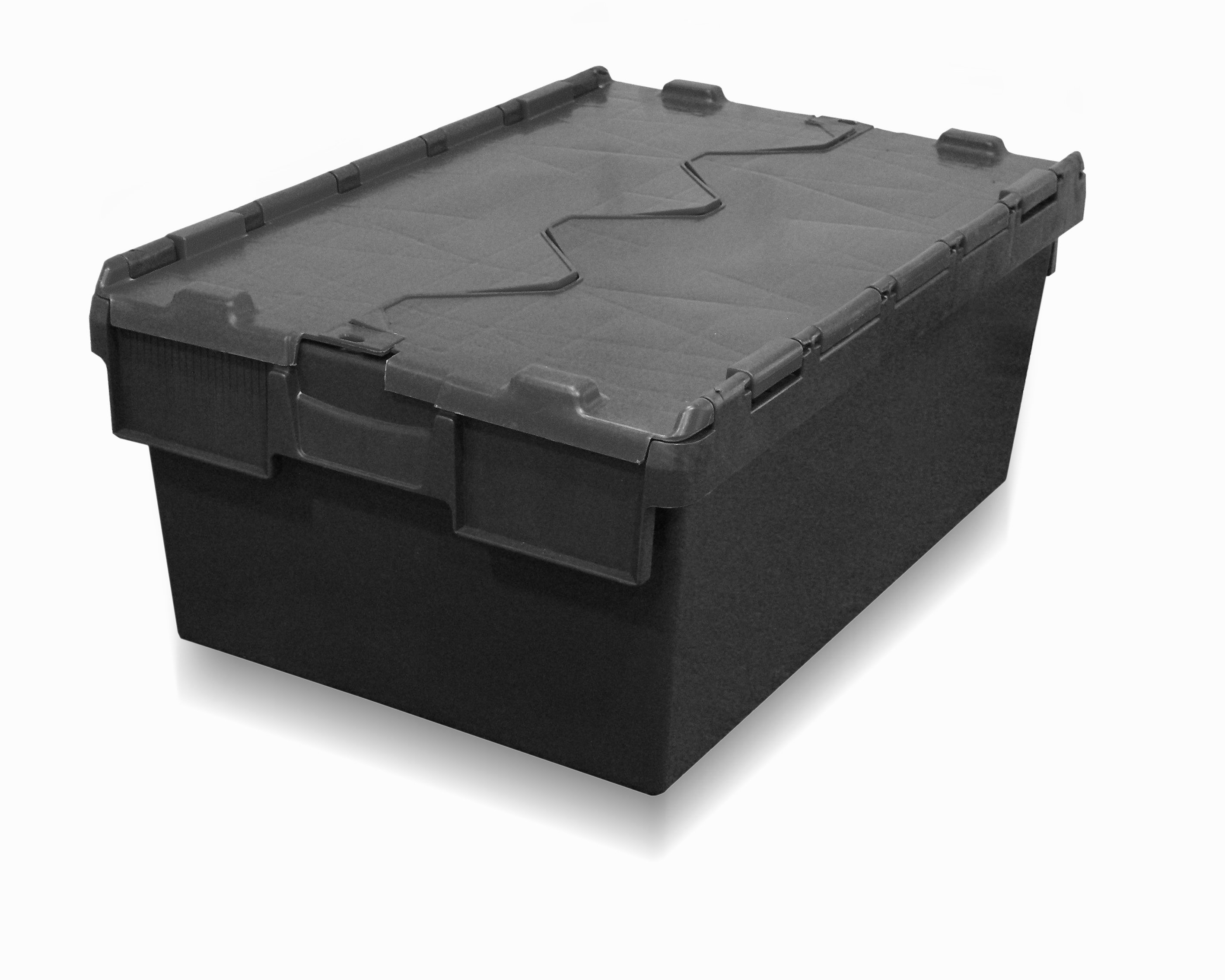 40l attached lid container / tote box / black regrind