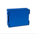 Blue plastic industrial crate