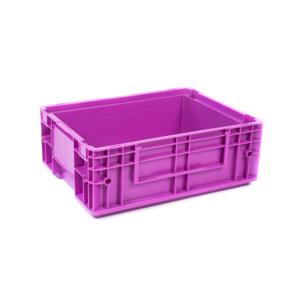 Pink plastic industrial crate