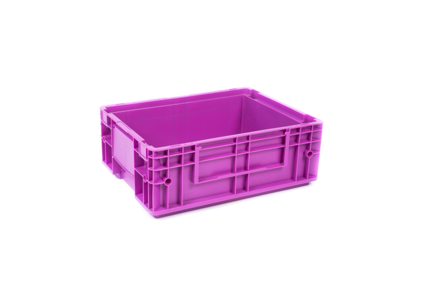 Pink plastic industrial crate