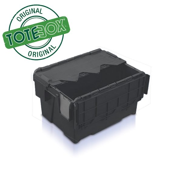 Black extra strong plastic boxes with lid-AT432604 - BLK 22L
