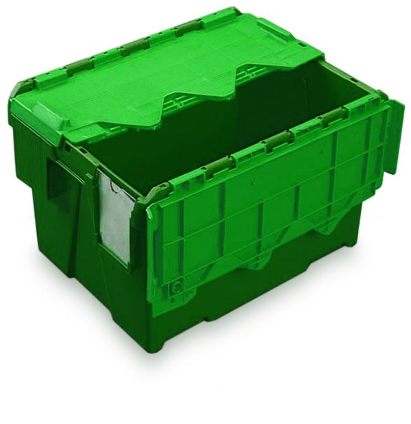 Heavy duty plastic storage boxes with lid in green-AT432604