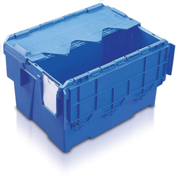 Heavy duty plastic container with lid in blue-AT432604