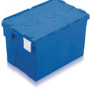 Large industrial plastic containers in blue