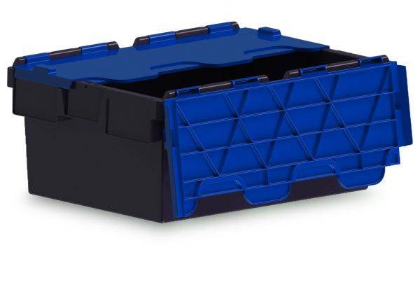 43L ALC black storage box with blue lid