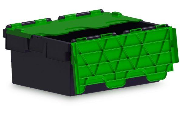43L ALC black storage box with green lid