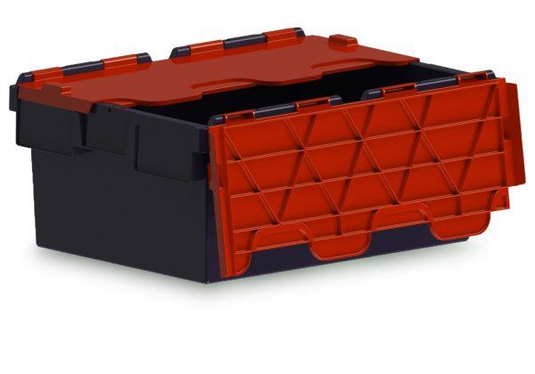 43L ALC black storage box with red lid