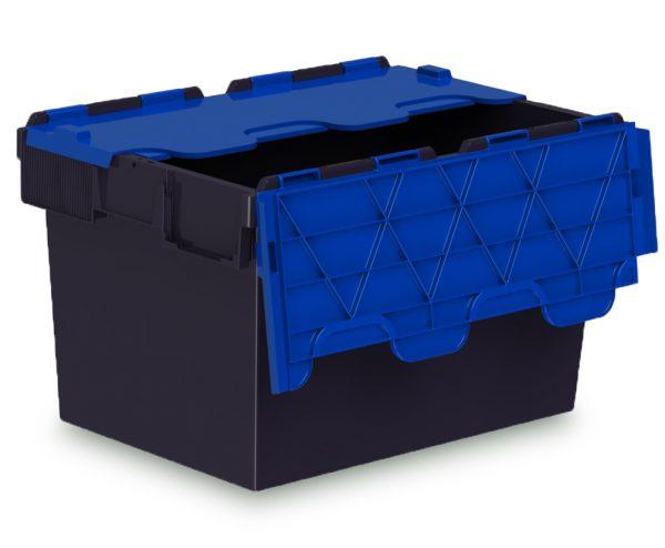 64L ALC black Plastic storage box with blue lid