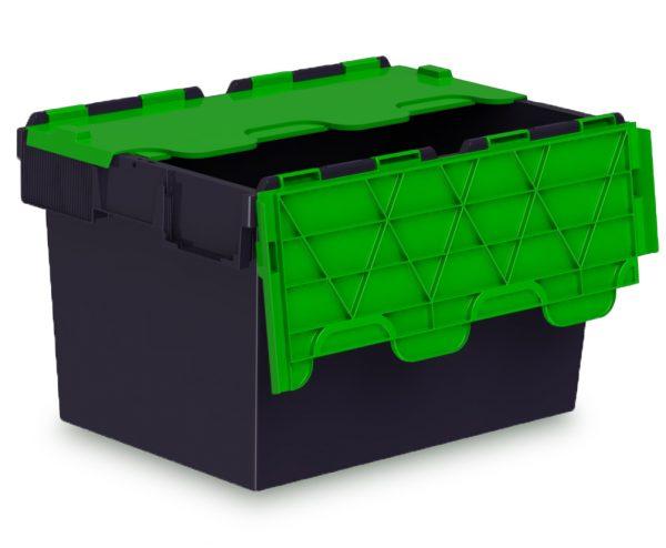 64L ALC black storage box with green lid