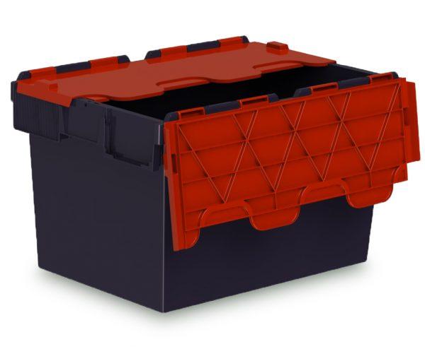64L ALC black storage box with red lid
