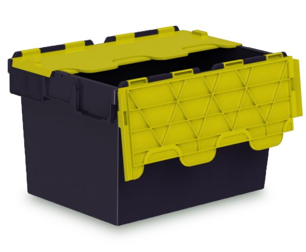 64L ALC black plastic box with yellow lid