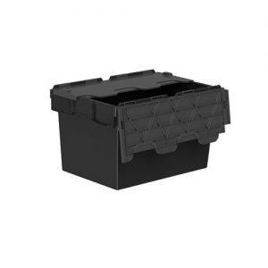 Plastic storage container with lids in black