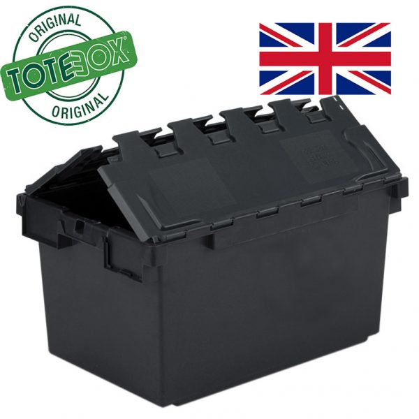 Black Totebox with folding lid